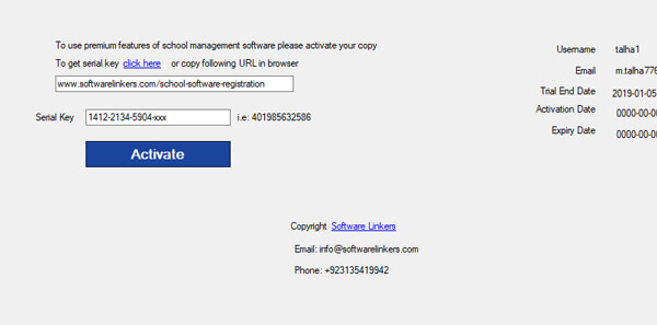School management software with serial key
